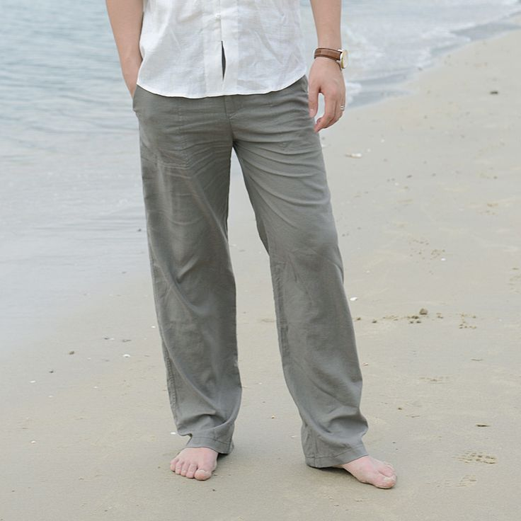 Men s Summer Casual Pants Natural Cotton Linen Trousers White Linen Elastic Waist Straight Pants. Click visit to buy #CasualPants