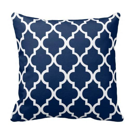 Navy Blue Quatrefoil Pattern Pillows