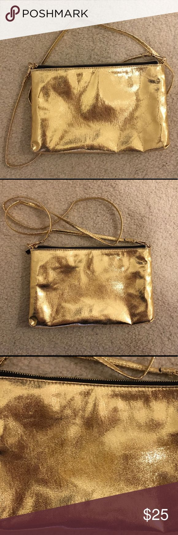 Forever 21 Gold Bag Has detachable Strap. Can be worn as crossbody or on Shoulder or carried as a clutch Forever 21 Bags Crossbody Bags