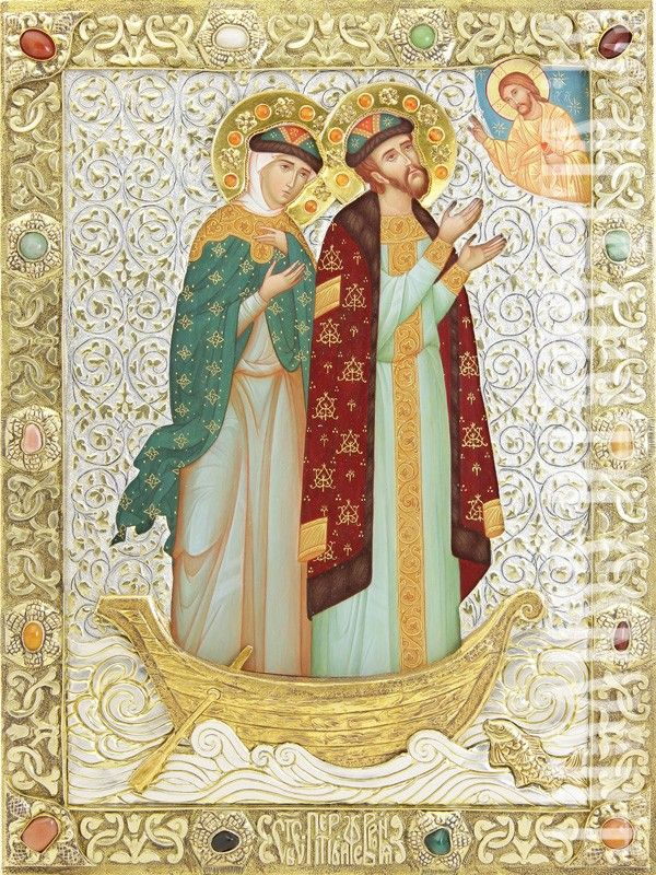 Icon of Ss Peter and Fevronia of Murom in a riza | the Orthodox patrons of marriage | Icon Casing Workshop of St Elisabeth Convent | Hand Painted Icons | http://catalog.obitel-minsk.com/icon-casing-workshop