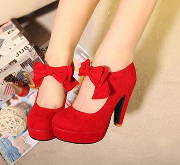 Shoes: red, red shoes, red heels, red heels with bow in front, bow ...