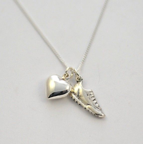 Cute running shoe necklace. I might get this for myself when I FINISH my first half marathon month!