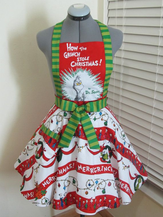 The Grinch Apron How the Grinch Stole by AquamarCouture on Etsy, $48.50. someone buy me this ASAP