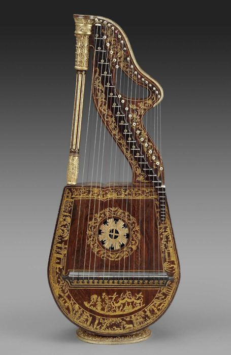Dital harp. England, U.K.  In this harp lute design, the instrument is held somewhat like a guitar and the stops are worked by the player's thumb, as distinguished from stops worked by the feet in a full-size concert harp.    (Collection of the Museum of Fine Arts, Boston, Massachusetts, U.S.A.)