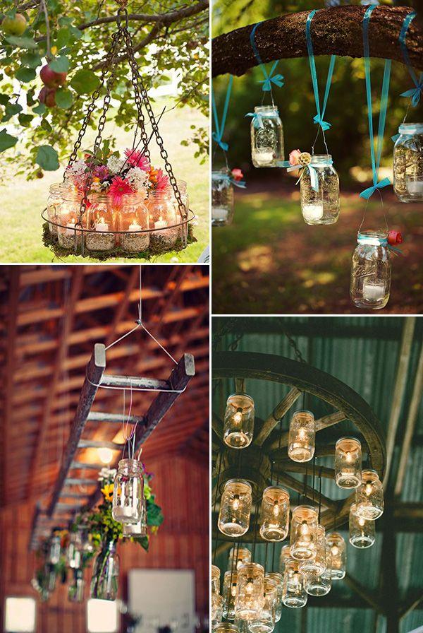 mason jars inspired rustic wedding hang decorations