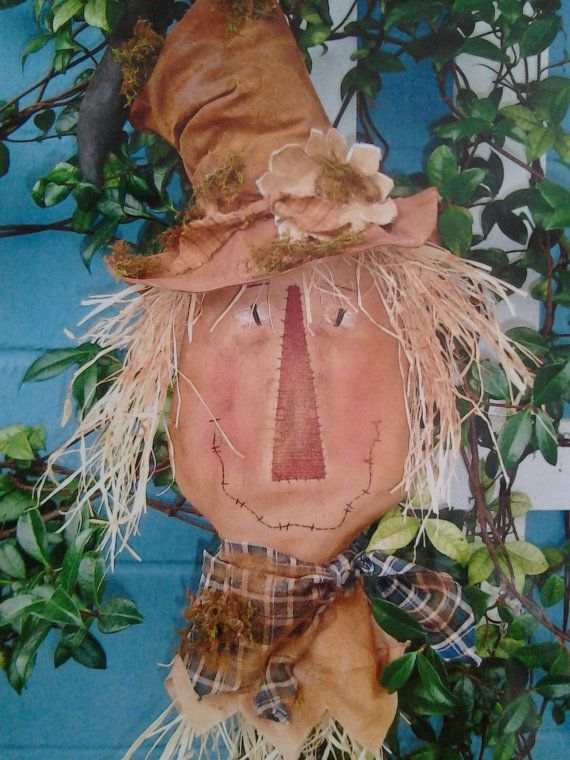 Fall Primitive Scarecrow For The Door Or Wall by r Debbie Dugan of PatchworkFriends on Etsy