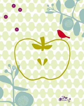 Les designers de l'Atelier LZC ont su depuis une quinzaine d'années imposer   leur style à la fois gai et élégant. Leur univers porte en lui les couleurs et la   simplicité des formes emblématiques de la sérigraphie, leur premier support de création. Dans ce dessin l'oiseau, couleur safran force le contraste et trouve une place de Roitelet gourmand sur la pomme.