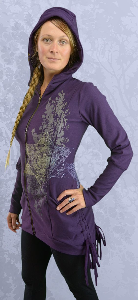"""""""Realta"""" Bamboo Fleece Bustle Jacket, Realta means Celtic Star, designs inspired by Celtic knot-work, feature wings made up of celtic knots, oak leaves, celtic star, sacred geometry, druid magic, ethereal wings, priestess,"""