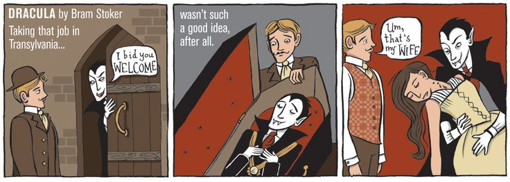 Lisa Brown's 3-Panel Book Review for Dracula by Bram Stoker.