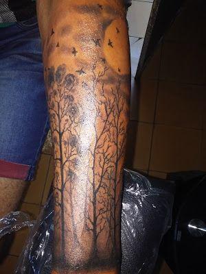 CUCHO TATTOO: Tatuaje mangas para hombre bosque