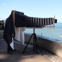 """Darren Samuelson built this gigantic ultra-large format camera that take photos on 14""""x36"""" X-Ray film. It is captured in this video by Matthew Sultan."""