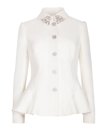 Embellished peplum jacket - Natural | Jackets & Coats | Ted Baker