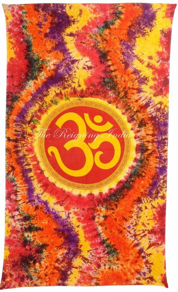 ॐ OM INDIAN DORM TAPESTRY BEDSPREAD TABLECLOTH WALL COTTON THROW ETHNIC ART 2114 #Handmade