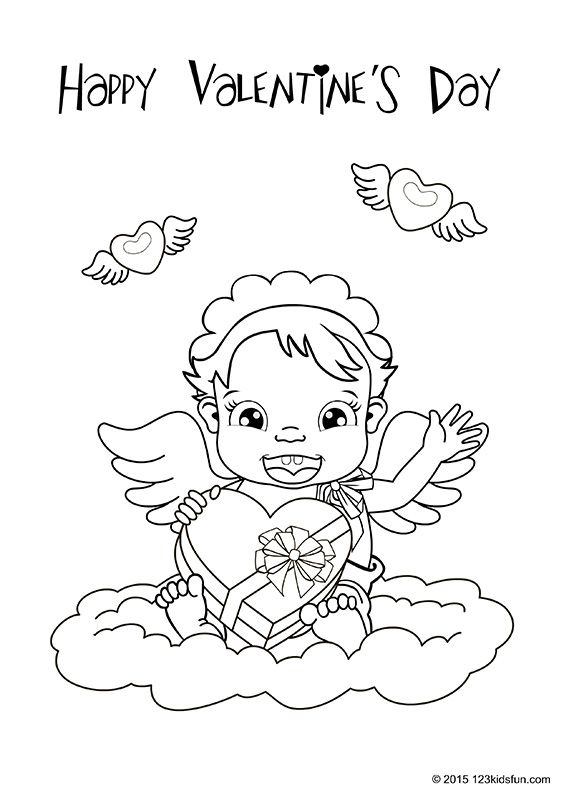 Valentine's Day - free worksheets and printables for kids. Colour In. #valentines #day #worksheets #printables #free #kids #coloring #123KidsFun