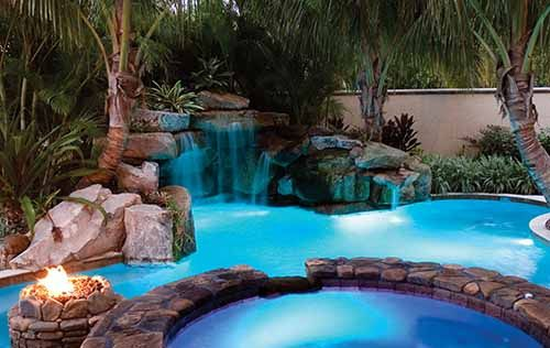 rock waterslide and waterfall grotto