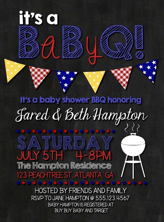 Baby Q BBQ Baby Shower Invitation by DarlingSailorDesigns on Etsy