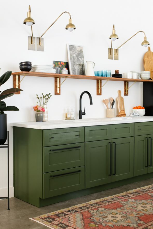 How Much Does It Cost To Renovate A Kitchen Little Green Notebook Green Kitchen Cabinets Studio Kitchen Green Cabinets
