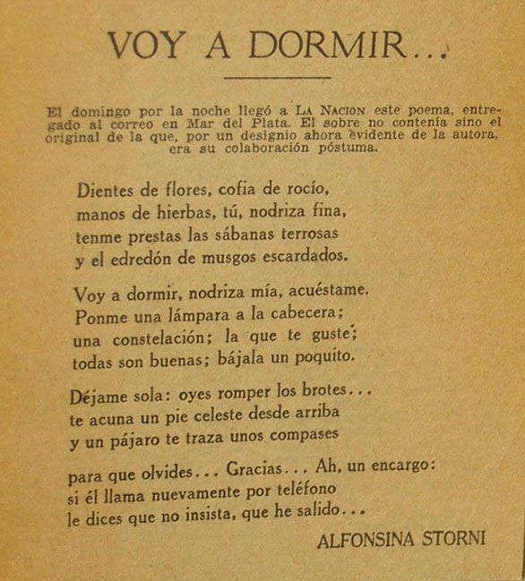 Today May 29th Alfonsina Storni was born, only to bring to the world the best poetry. Here's the last poem she ever wrote.