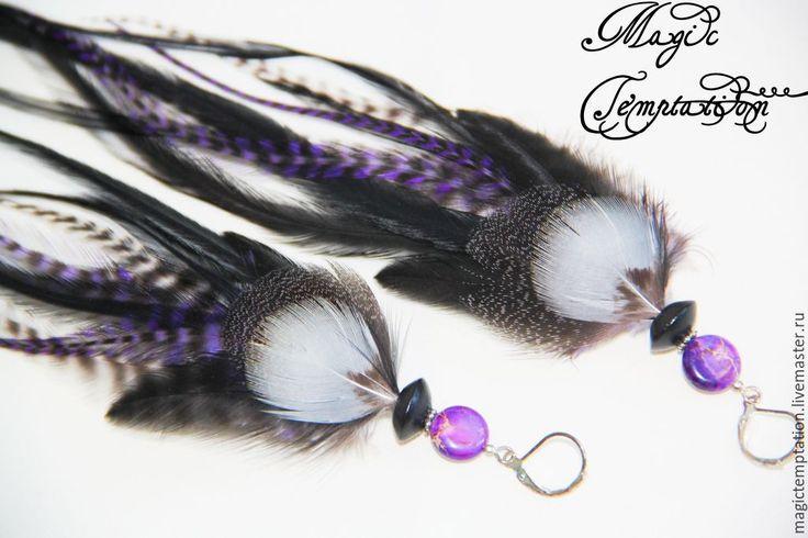Black and purple feather earrings. - Earrings handmade earrings feather earrings long Купить Черно-фиолетовые серьги из перьев. - серьги ручной работы, серьги из перьев, серьги длинные
