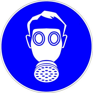 Science Laboratory Safety Signs: Blue Respiratory Protection Sign- Safety Sign