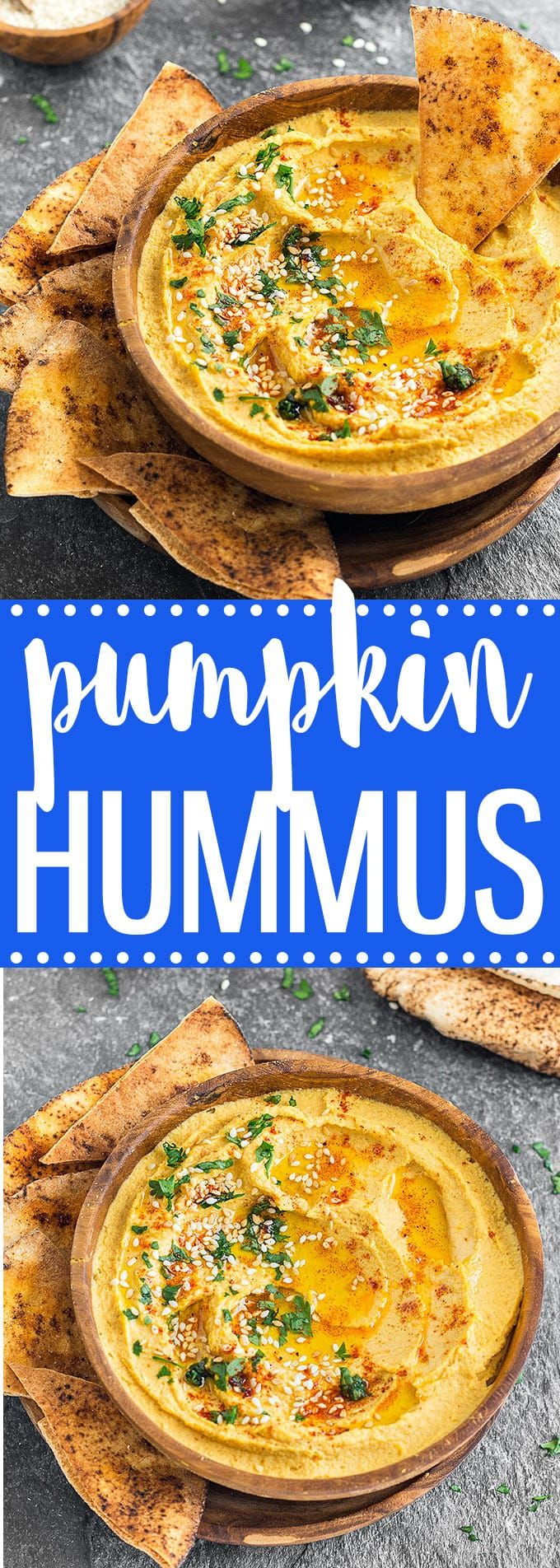 If you have pumpkin puree on hand, whip up a batch of this savory pumpkin hummus. Pair it with pita bread, crackers or veggie sticks and you have a delicious snack or appetizer ready in 5 minutes via @easyasapplepie