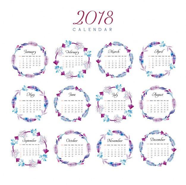 calendario 2018 con diseño de anillo floral Vector Gratis