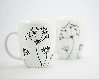 Handbemalte Tassen weißem Porzellan Kaffeetassen von SylwiaGlassArt