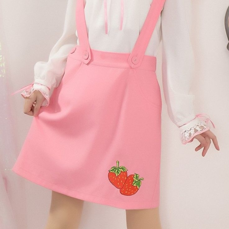 "Pink strawberry braces skirt SE9618    Coupon code ""cutekawaii"" for 10% off"