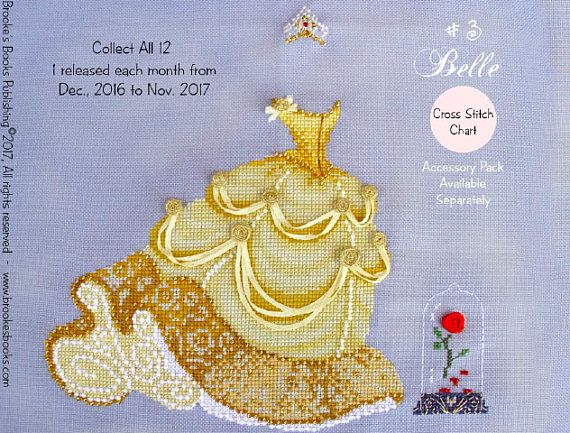 PDF Belle Dress Up #3 Fairy Tale Princess cross stitch patterns by Brooke's Books at thecottageneedle.com e-pattern embroidery by thecottageneedle