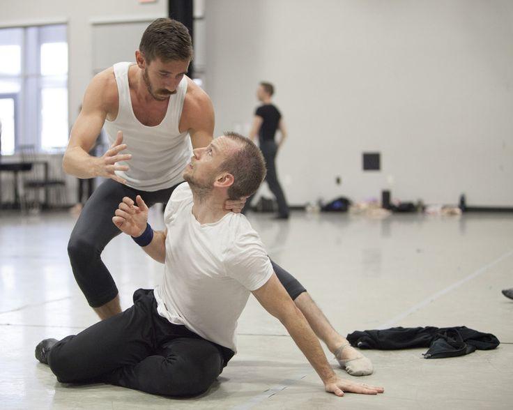 Brian Heil as Polonius and Frank Shott as Hamlet during rehearsals. (Photo credit Anne Marie Bloodgood)