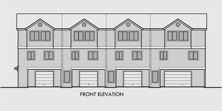 181 best multi family plans images on pinterest duplex for Fourplex plans with garage