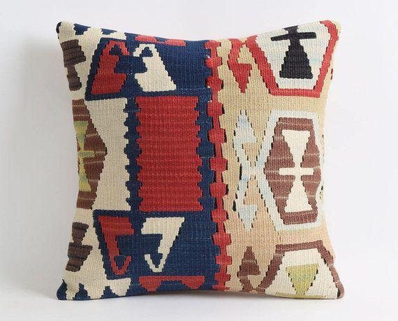 kilim pillow cover boho pillow case floor cushions rug college room decor hippie bedroom decor gift