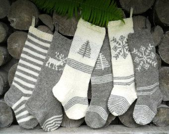 FOR 2015: Hand knit Christmas Stocking Grey and White with stripes, deer, tree, snowflake ornament Personalized Christmas decoration