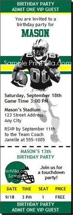 Oregon Ducks Football Birthday Party Ticket Invitations from Print Villa...personalized just for you!