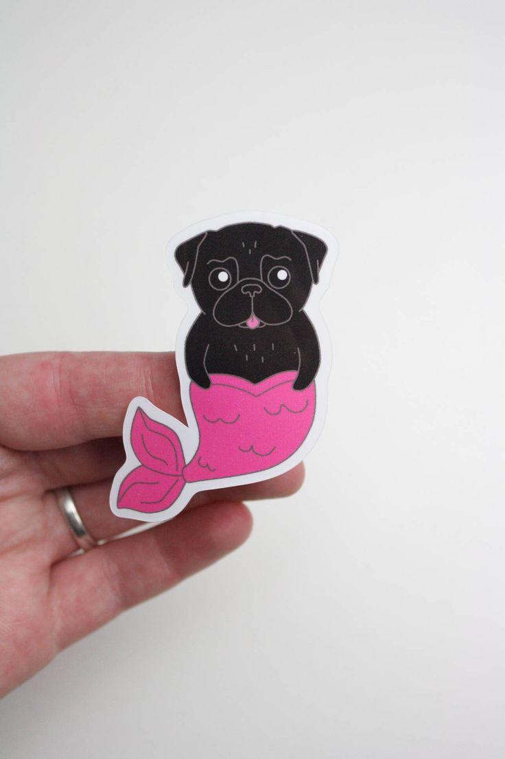 Black Pug Mermaid Sticker - vinyl sticker - outdoor sticker door NaisProductsNL op Etsy https://www.etsy.com/nl/listing/523284824/black-pug-mermaid-sticker-vinyl-sticker
