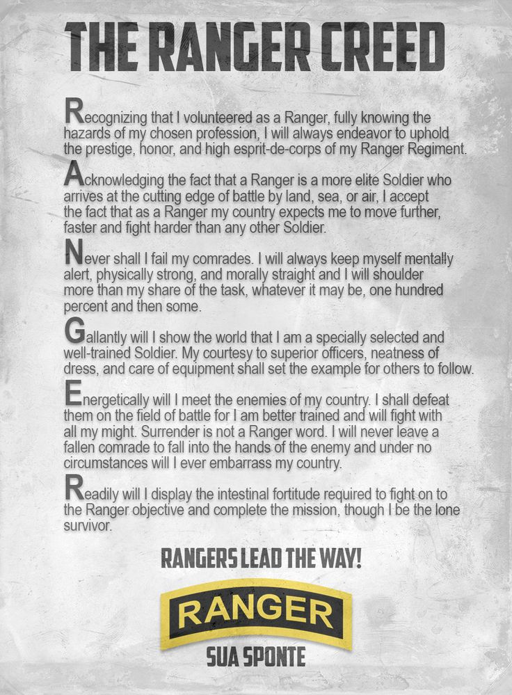 Ranger Creed, US Army Rangers, 75th Ranger Regiment, Sua Suponte