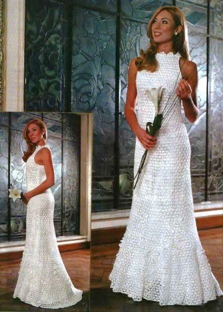 Free crochet pattern.  Russian crochet wedding dress, with charts.