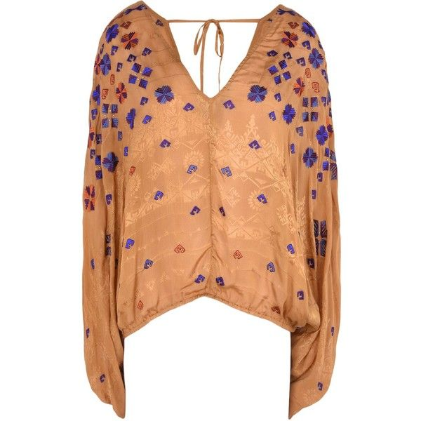 Free People Blouse (710 BRL) ❤ liked on Polyvore featuring tops, blouses, camel, long sleeve blouse, red top, long sleeve v neck blouse, multicolor blouse and free people blouse