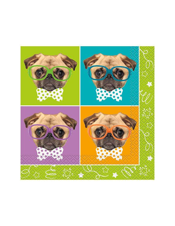 Pug Napkins Puppy Party Supplies Dog Birthday Decor Pug Party