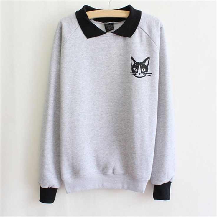 Funny Cat Printed Casual Cotton Women Hoodies Spring Autumn Lapel Neck Pullover Long Sleeve Sweatshirt Hoodies for Women 2017