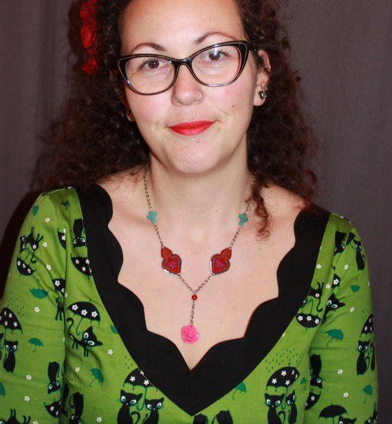 Ketting rozenkrans hart mexicaans verzilverd door MissFrauque