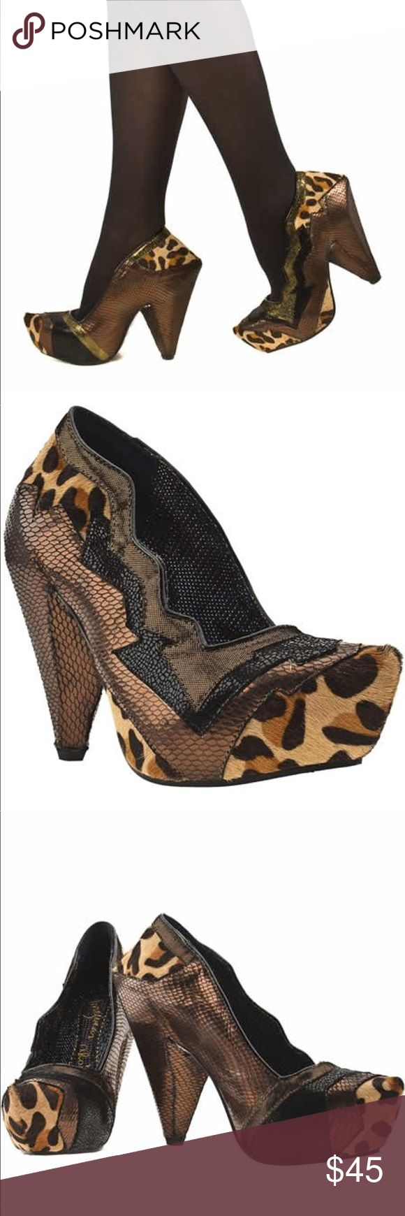 Irregular choice Cheetah heels Definitely have been worn so there are spots of rubbing as pictured but not extremely noticeable when worn very very cute and rather outlandish shoes! Please ask for any more pictures if interested and bundle for a better price! irregular choice Shoes Heels