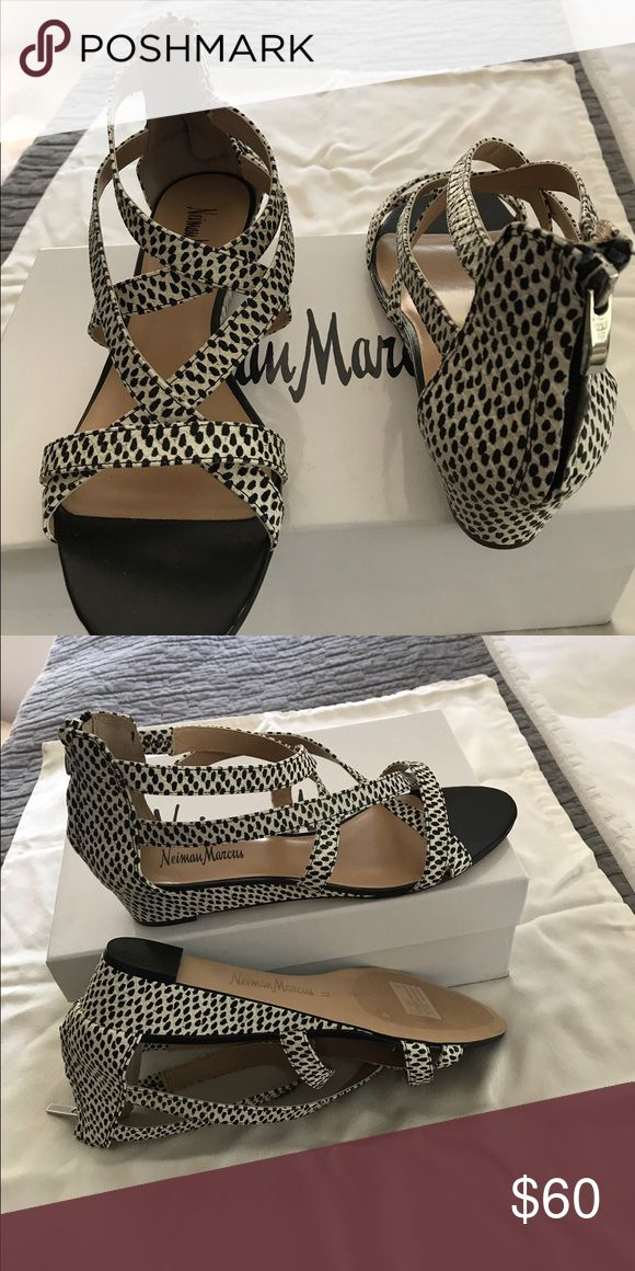 Neiman Marcus shoes Black and cream leather. Strappy wedge with back zipper. One inch wedge. Neiman Marcus Shoes Wedges