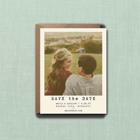 Modern Minimalistic Photo Wedding Save the Date by blacklabstudio