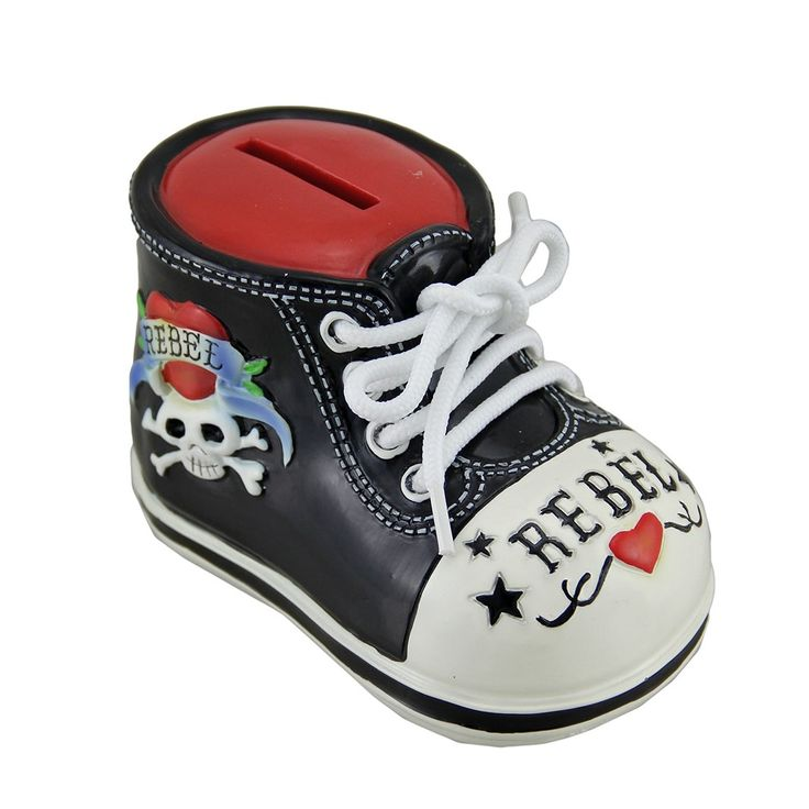 Rockabilly Rebel Tattoo Skull Baby Bootie Shoe Money Bank, Black (Plastic)