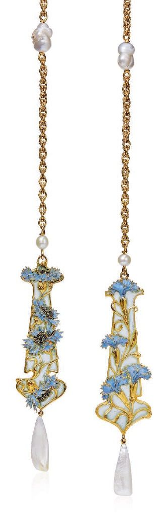 RENÉ LALIQUE - AN ART NOUVEAU ENAMEL AND PEARL LAVALLIÈRE NECKLACE, CIRCA 1899. Each transparent window enamel terminal applied with blue enamel and gold cornflowers, suspending a baroque pearl, to the fancy-link chain interspersed with two baroque pearls, with French assay marks for gold, signed Lalique.