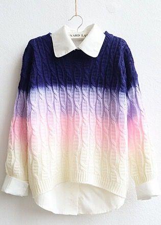 Fashion Gradient Color Pullover Sweater