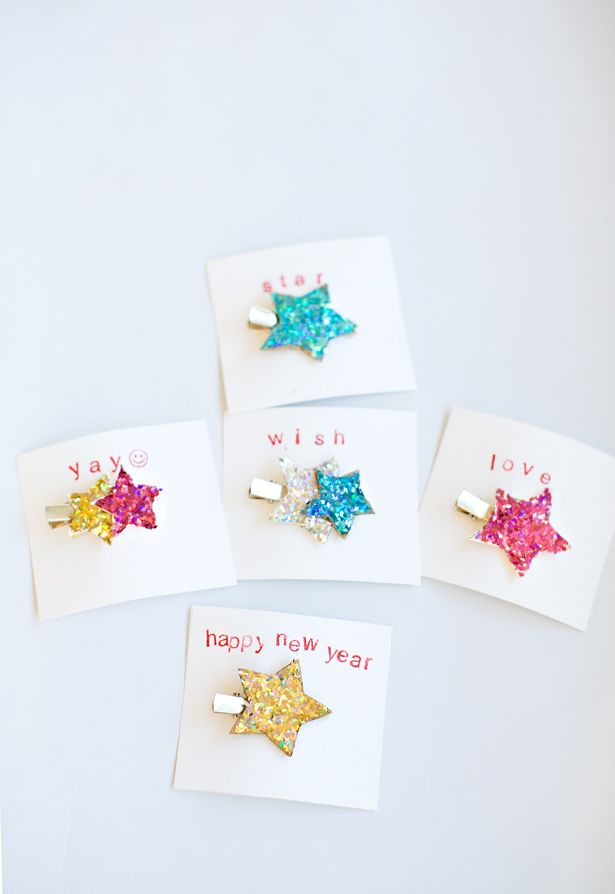 Make Glitter Hair Clips. Fun new year's craft or cute party favors kids can make!