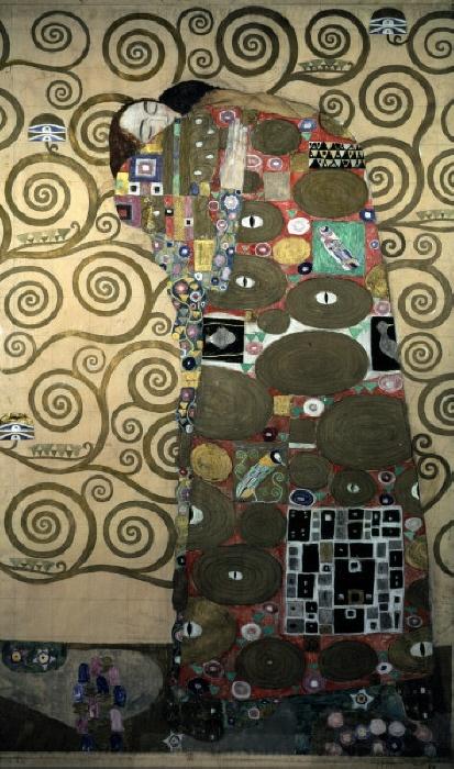 "Klimt, Gustav 1862-1918. ""Die Erfuellung"", (Fulfilment), 1905/09. (Preparatory work for the Stoclet frieze). Mixed technique with gold leaf on paper, 194 x 121cm. MONDADORI PORTFOLIO/AKG Images"