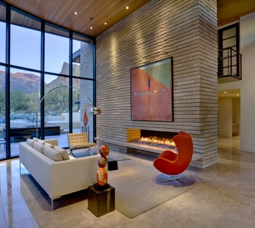 window wall: Architects, Fireplaces Design, Eggs Chairs, John Senhaus, Contemporary Living Rooms, Modern Interiors, Modern Home, Bright Colors, Chairs Design